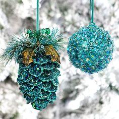 Peacock Blue Glitter Ornaments