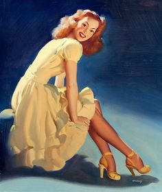 I've been looking for a yellow dress like this for ages. Wonder where she got her's from? :) #vintage #pinup #art #1940s #redhead #dress