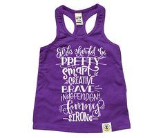 Girls should be smart, creative, brace! Racerback Tank (Purple)