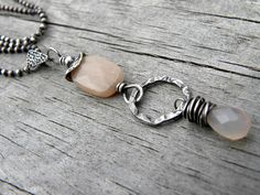 Handcrafted Sterling Silver and Pale Pink  Moonstone by TANGRA2009