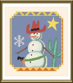 Southwest Snowman - Christmas cross stitch pattern designed by Marv Schier. Category: Snow.
