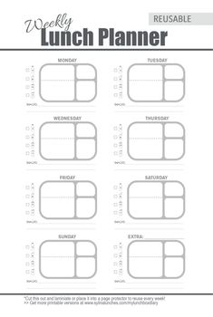 Bentgo Fresh Lunch Box Weekly Meal Planner Template