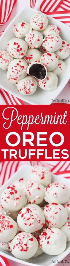 Delicious holiday treats with only 5 ingredients!, Holiday Tips, Peppermint Oreo Truffles! Delicious holiday treats with only 5 ingredients! Brownie Desserts, Mini Desserts, Holiday Desserts, Holiday Cookies, Holiday Baking, Holiday Treats, Holiday Recipes, Delicious Desserts, Christmas Recipes