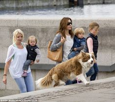 The family bid farewell to the beautiful Border Collie (pictured with Princess Mary, Princ...
