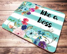 Floral Watercolor Quote Like A Boss Mouse Pad Mint Teal Striped Mousepad Coworker Gifts for Women Desk Accessories Office Supplies Watercolor Quote, Floral Watercolor, Cheap Gifts For Coworkers, Amazon Gifts, Like A Boss, Desk Accessories, Original Image, Gifts For Women, Best Gifts