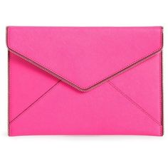 Rebecca Minkoff 'Leo' Envelope Clutch ($95) ❤ liked on Polyvore featuring bags, handbags, clutches, pink leather handbag, zipper purse, pink handbags, envelope clutch bag and genuine leather purse
