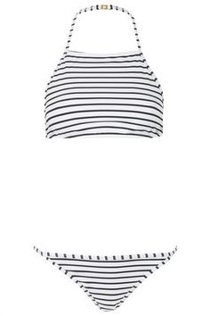 Striped High Neck Bikini Set