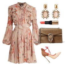 Giambattista Fall Dress by arta13 on Polyvore featuring polyvore fashion style Giambattista Valli Casadei Gucci Oscar de la Renta Bobbi Brown Cosmetics clothing