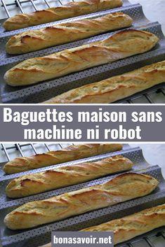 Baguettes maison sans machine ni robot – Page 2 Ciabatta, Robot, Hot Dog Buns, Nom Nom, Good Food, Food And Drink, Vegan, Baguettes, Cooking