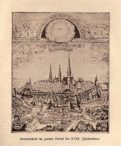 hermannstadt-im-zweiten-viertel-des-xviii-jh. Vintage World Maps, Times, City