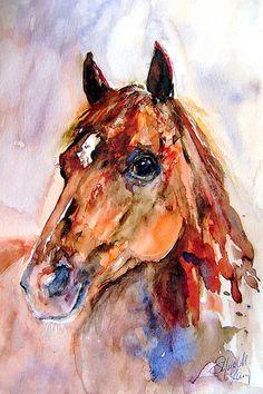 Racing Horse in watercolour