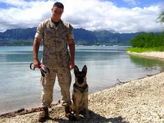 Dog handler Marine Corp. Max Donahue stateside with MWD Ronni, his first dog - military or otherwise. Donahue, like most handlers, bonded deeply with the two military dogs who served with him, and vice-versa. (Photo courtesy of Julie Schrock)