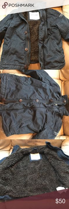 Abercrombie kids winter coat- boys Very nice condition Abercrombie coat. Navy blue. Cotton exterior and fuzzy warm brown lining.  My son wore this, but it is still in good shape!!! abercrombie kids Jackets & Coats