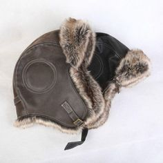 Retro Men Leather Fur Winter Warm Earmuff Aviator Pilot Trapper Flying Hat  Cap C  ebay da2506b80f12