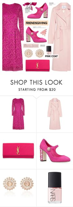 """Friendsgiving - Pink Coat & Lace Dress"" by anyasdesigns ❤ liked on Polyvore featuring ADAM, MaxMara, Yves Saint Laurent, Dolce&Gabbana, Nam Cho, NARS Cosmetics and Lime Crime"