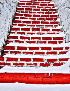 snowy brick steps