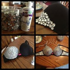 58 Ideas for sewing projects clothes sexy bra Bedazzled Bra, Bling Bra, Rhinestone Bra, Diy Fashion, Ideias Fashion, Sewing Tutorials, Sewing Projects, Old Bras, Diy Bra