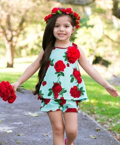 Love this Mint & Red Floral Alice Swing Top & Shorts - Toddler & Girls on #zulily! #zulilyfinds