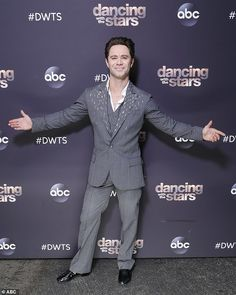 Nattily attired: Dance pro Sasha Farber, like the other men, looked dapper in a gray pinstripe suit Grey Pinstripe Suit, Sasha Farber, Looking Dapper, Dancing With The Stars, Seasons, Dance, Dancing, Seasons Of The Year