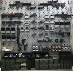 Hidden Gun Storage, Ammo Storage, Weapon Storage, Weapons Guns, Guns And Ammo, Gun Safe Room, Tactical Wall, Tactical Guns, Gun Closet