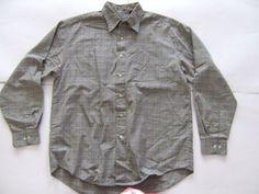 VanHeusen Men's Shirts Size-M (15-15.5) Gray Plaid Micro Cotton Very Good! #VanHeusen