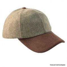 Heather Hats Valley Derby Tweed Leather Peak Baseball Cap - Light Green With a British Derby Tweed crown and genuine leather peak the Valley baseball