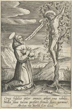 Abraham van Merlen   Knielende heilige voor Christus aan het kruis, Abraham van Merlen, 1600 - 1660   Een heilige, gekleed in monnikspij, geknield voor een aan een wijnstok gekruisigde Christus.