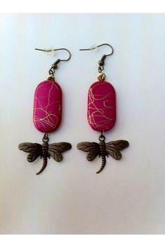 Pink and gold bead earrings with dragonfly charm #etsy, #MoggysMall, #pink, #earrings, #dragonfly