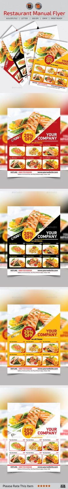Modern Food Flyer  Fonts Restaurants And Flyer Template