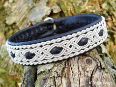 VANAHEIM Black Viking Bracelet - Swedish Sami Reindeer Leather Cuff with Spun Pewter Braids and Antler button - Handmade Nordic Spirit from Tjekijas Design.