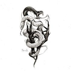 Evil Tattoos, Anime Tattoos, Skull Tattoos, Sleeve Tattoos, Tattoo Sketches, Tattoo Drawings, Traditional Snake Tattoo, Dark Art Tattoo, Small Girl Tattoos