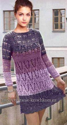 Трехцветное вязаное платье крючком