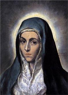 El Greco | Virgin Mary, 1585, Mannerism (Late Renaissance), Spanish period, oil on canvas, 52×36cm, Musée des Beaux Arts, Strasbourg, France.