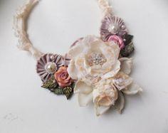 Floral Textile Art Bracelet Fabric Flower Wrist от philadella
