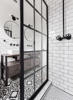 Gridscape Fixed Shower Screen Panel in Black with Clear .- Gridscape Fixed Shower Screen Panel in Black with Clear Glass meg schultz - Bad Inspiration, Bathroom Inspiration, Industrial Bathroom, Modern Bathroom, Minimalist Bathroom, Black Bathrooms, Brown Bathroom, Modern Industrial, Industrial Shower Doors
