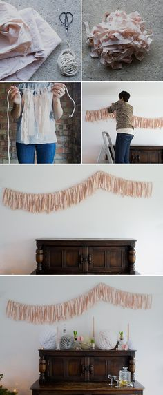 Blush cotton fabric garland via Curate & Display