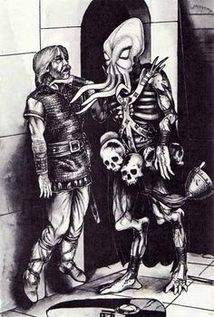 """A mind flayer prepares his next meal while casually tossing aside the victim's helmet. (Roger Raupp illustration from the article """"The ecology of the mind flayer"""", written by Roger Moore,Dragon #73, October 1983, TSR.) """"Where do the Illithids, whom men call the mind flayers, come from?"""" asked the mage in a trembling voice. I believe this article is the first appearance of the name """"Illithid"""" in print."""