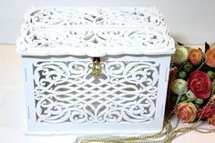 Wedding Card Box With Lock With Slot Personalized White, Money Envelopes Box, Card Holder, Gift Wood