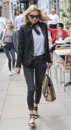 "Kate Moss steps out in London, wearing one of her favorite pair of skinny jeans, Siwy Denim's ""Hannah"" available for $168."