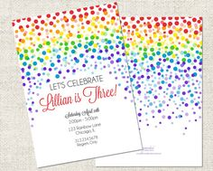 Rainbow Confetti Birthday Invitation, Printable Rainbow Invitation, Personalized Birthday Invitation