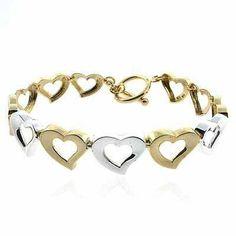 Designer Vermeil (24kt Gold over Silver) Tri Color Designer Heart Bracelet SilverSpeck.com. $24.99