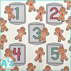 One of my favorite themes of the year is the gingerbread man! And I love all the different literacy activities that go along with reading all… Numbers Kindergarten, Numbers Preschool, Preschool Lesson Plans, Preschool Learning Activities, Preschool Themes, Preschool Kindergarten, Teaching Ideas, Toddler Activities, Kids Learning