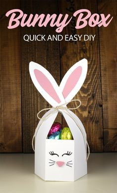 This adorable DIY bunny box is so easy to make you will be done in 15 minutes. A surprisingly large capacity box for Easter candy, it easily ties shut with a ribbon around the rabbit ears! crafts for kids to make Easy Bunny Box - Pazzles Craft Room Easter Crafts For Toddlers, Easter Gifts For Kids, Easter Activities, Crafts For Kids To Make, Crafts For Teens, Crafts To Sell, Kids Crafts, Diy And Crafts, Paper Easter Crafts
