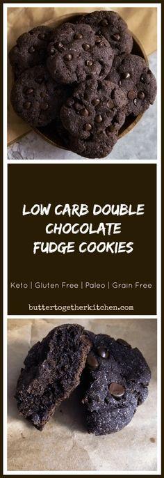 Low Carb Double Chocolate Fudge Cookies - Delicious & Ultra Fudgey cookies | buttertogetherkitchen.com