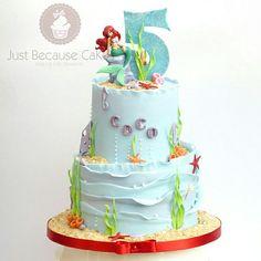 Ariel Cake  #disneyprincesscake #arielcake #undertheseacake #justbecausecakes Ariel Cake, Yummy Cakes, How To Make Cake, Birthday Cake, Desserts, Crafts, Food, Tailgate Desserts, Deserts