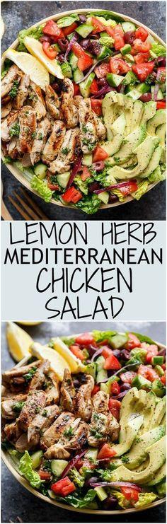 lemon herb Mediterranean chicken salad Tasty Recipes For Dessert, Healthy Salad Recipes, Lunch Recipes, Vegan Recipes, Chili Recipes, Summer Recipes, Breakfast Recipes, Cooking Fish, Cooking Turkey