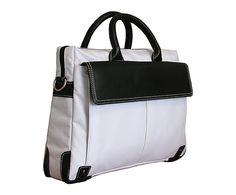Sacoche pour ordinateur portable, blanc et noir - L39