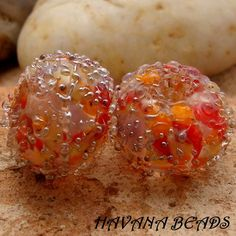 INDIAN SUMMER - Silver Sparkle Earring Pair - Set of 2 Handmade Lampwork Beads. $7.00, via Etsy.