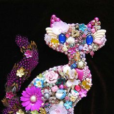 Bubblegum Kitty Cat Mosaic Vintage Jewelry Art by ArtCreationsByCJ, $285.00