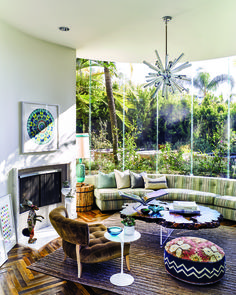 """""""Our home is very mid-century, designed by architect Hal Levitt, and we love it,"""" says Skye, who is from Dana Point, graduated from Pepperdine University in Malibu, and ran the West Coast music office of MTV for years before she married Mark, the bassist and vocalist for San Diego-bred pop-punk band blink-182."""